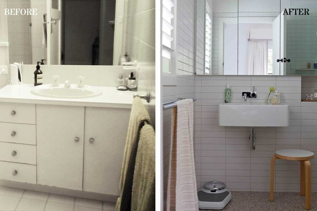 Before and after small and savvy bathroom renovation for Small bathroom renovations before and after