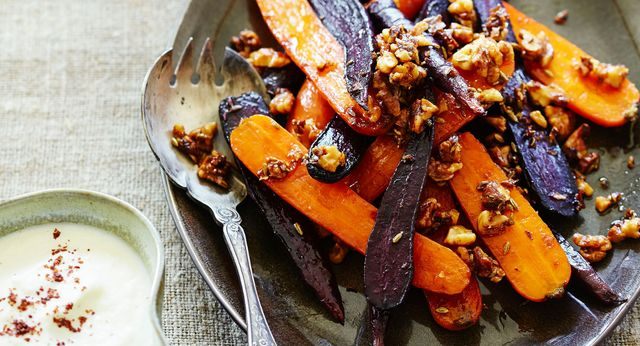Brown butter carrots with walnuts & cauliflower sauce