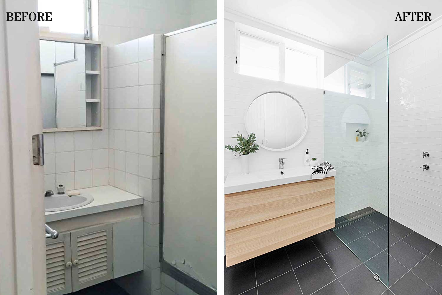 Before & After: Bathroom makeover renovated from disaster to