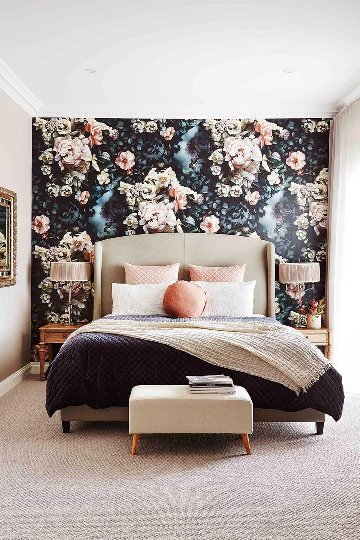 Room Recipe: How to do a bold floral wallpaper feature wall | Home ...