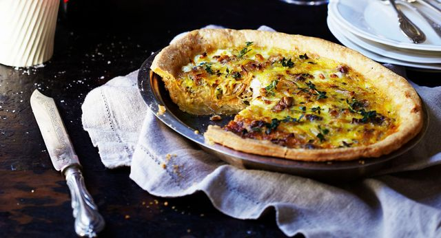 Caramelised onion, chèvre & thyme flamiche (tart)