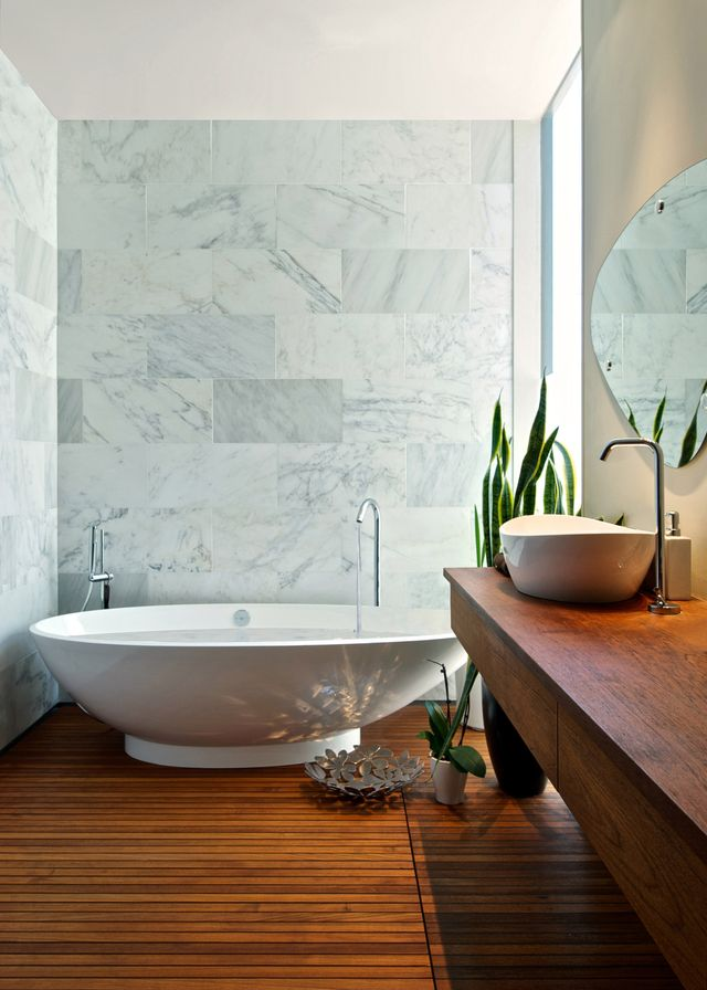 these seven beautiful bathrooms are reminiscent of day